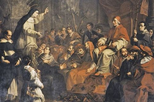 Calvi Alessandro, detto il Sordino, Caterina esorta Gregorio XI a tornare a Roma, sec. XVIII.jpg