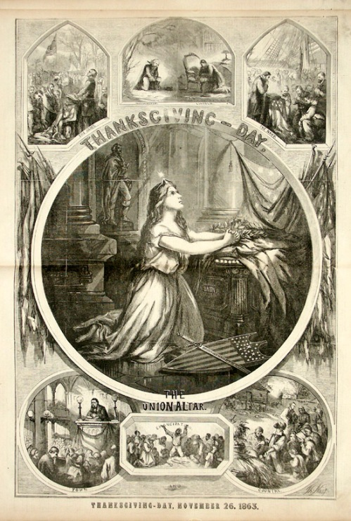 """Thanksgiving-Day,"" by Thomas Nast, Harper's Weekly, December 5, 1863."